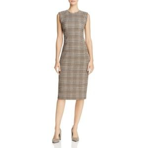 Theory Hadfield B Power Plaid Sheath Midi Dress